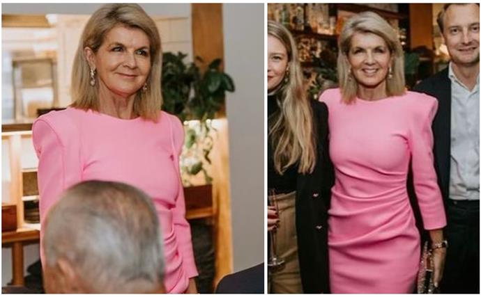 Julie Bishop's night out in Manly involved a bright pink dress and a couple of celebrity run-ins