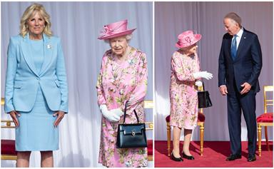 The Queen goes all out in a stunning pink ensemble for her history-making meeting with the President of the United States