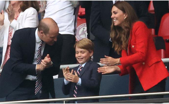 Seven-year-old Prince George just showed up to the soccer in a mini matching suit to his dad, Prince William - let that sink in