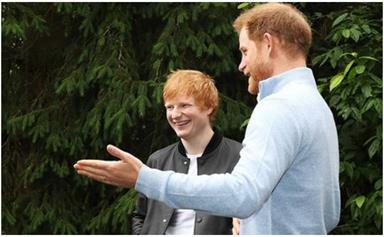 Prince Harry bonds over fatherhood with Ed Sheeran in his first public outing since arriving back home in the UK