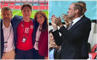 Crown Princess Mary, Prince William, Princess Eugenie and more get into the spirit of sport as their national soccer teams go head to head
