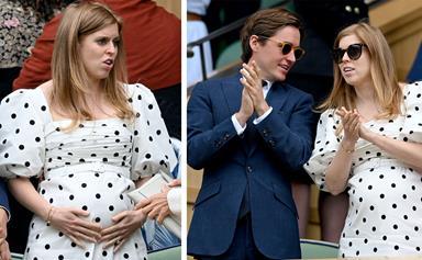 She's a glowing mum to Bea! Princess Beatrice debuts her beautiful baby bump at Wimbledon alongside husband Edoardo Mapelli Mozzi