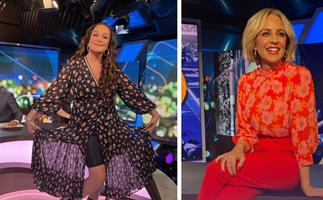 """The Project's Carrie Bickmore and Kate Langbroek are hilariously photobombed by a """"handsome creep"""""""