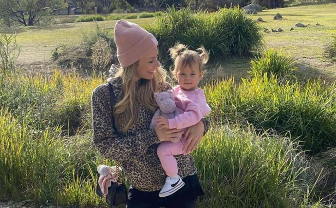 Cuteness overload! Jennifer Hawkins shares the precious moment her daughter Frankie bonded with her unborn brother