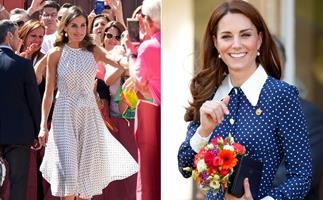 From Kate Middleton's refined midi skirt to Princess Diana's fun '80s look, polka dots are the spring royal trend we're going dotty over