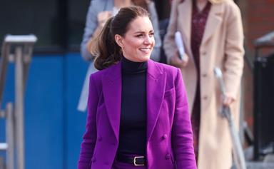 From dazzling gold to striking purple, Duchess Catherine's latest look will make you rethink pantsuits