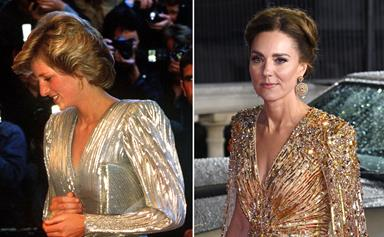 How Princess Diana inspired Duchess Catherine's show-stopping gold gown at the James Bond premiere
