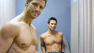 Bare-chested men promote breast cancer self-checks