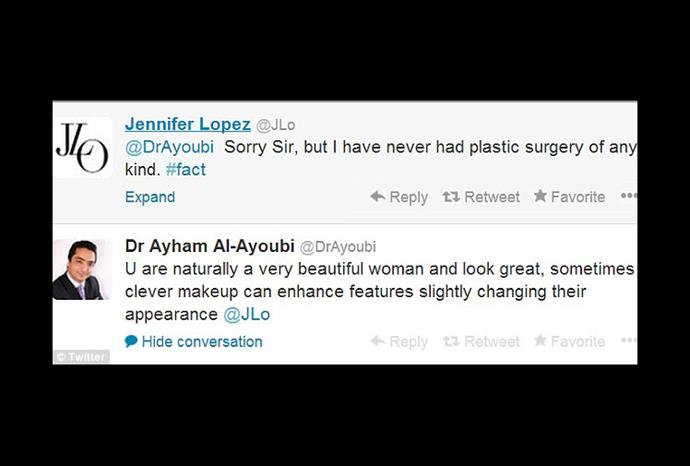 The twitter exchange between Jennifer and Dr Ayham Al-Ayoubi.