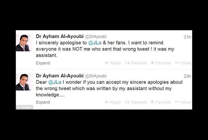 Dr Ayham Al-Ayoubi apologises to the singer.