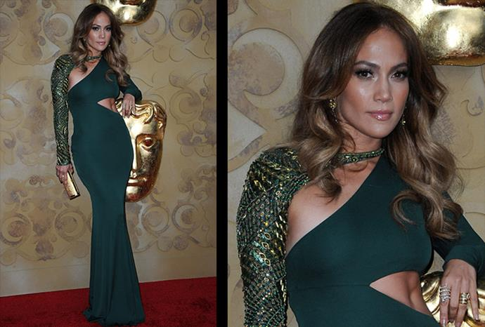 J.Lo in green and gold at the Bafta Awards.