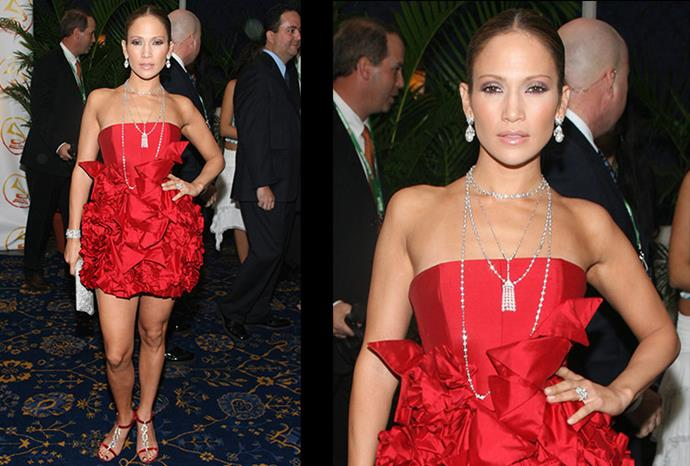 J.Lo rocks this red look back in 2006.
