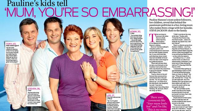 Pauline Hanson's kids reveal: 'Mum is so embarrassing!'