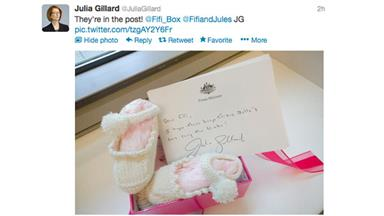 Julia Gillard knits booties for Fifi's baby girl
