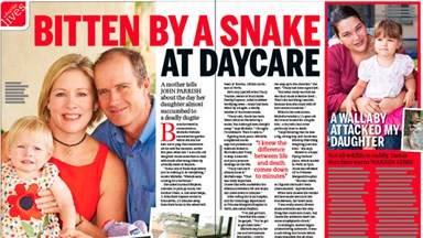 Bitten by a snake at daycare