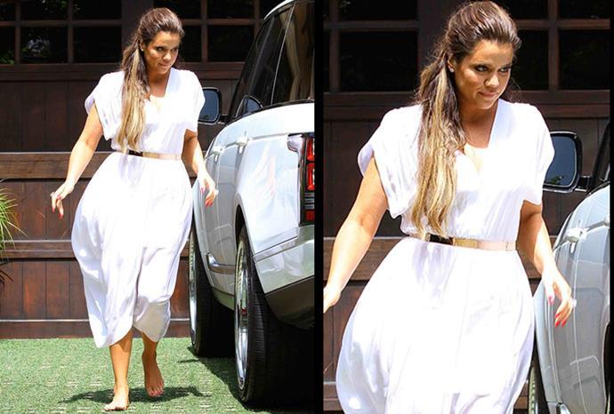 Khloe Kardashian arrives at Kim's baby shower.