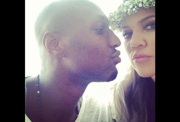 Khloe and her husband Lamar pucker up!