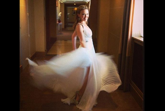 Kylie's twirls in her Roberto Cavalli gown.