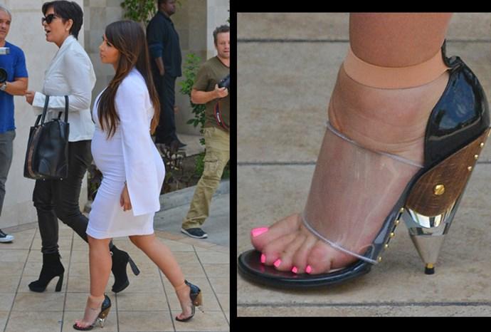 Kim's swollen feet wont stop her love for heels.