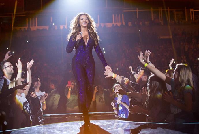 Beyoncé showed off her fabulous figure in a purple catsuit.