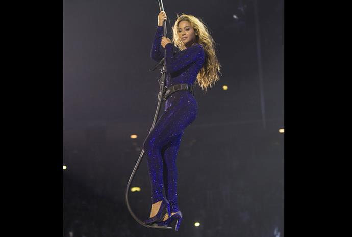 Beyoncé was lowered into the arena before her performance.