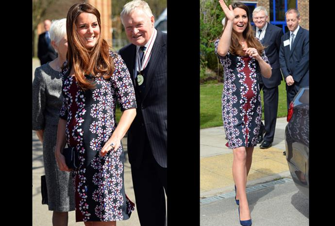 The duchess proudly shows off her bump in a patterned dress.
