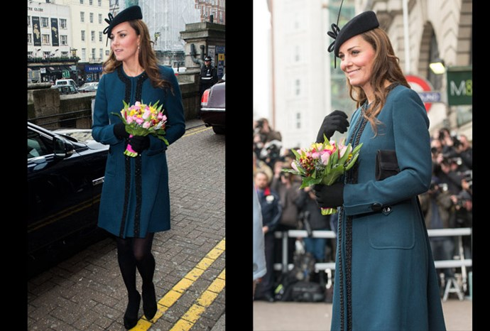 Glowing in teal coat, Catherine smiles and waves to a gathered crowd.