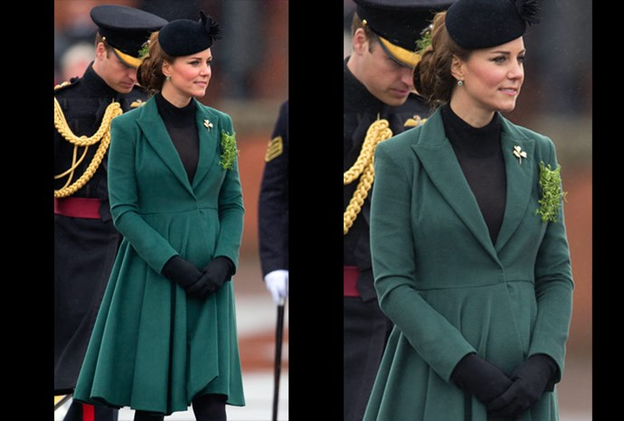 Catherine shows off her bump in a beautiful green coat.