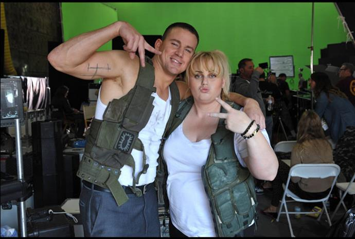 Rebel Wilson and Channing Tatum hang out on set.