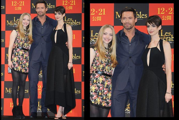 Anne looked stunning alongside Hugh Jackman and Amanda Seyfried.