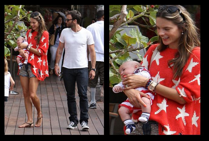 Alessandra seen out on the 4th of July with newborn son, Noah.
