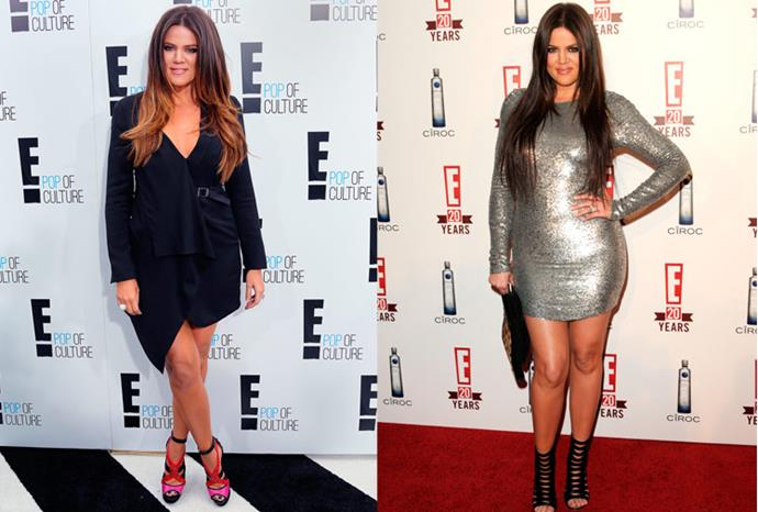 Khloe Kardashian recently and back in 2010.
