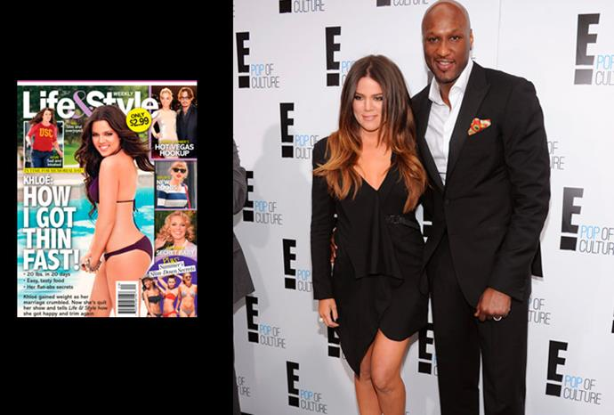 Khloe's Life & Style Weekly cover and with husband Lamar.