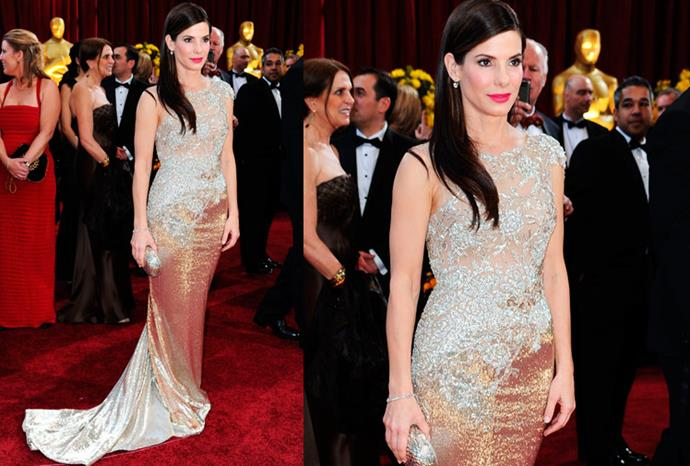 Sandra Bullock stole the show in 2010 wearing this glowing vintage Marchesa gown.