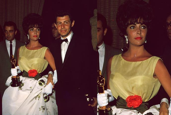 In 1961 Dame Elizabeth Taylor accepted her Oscar in a yellow top and white ball-gown skirt.