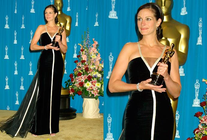 In 2001 Julia Roberts accepted her Oscar for Best Actress in a vintage Valentino gown.