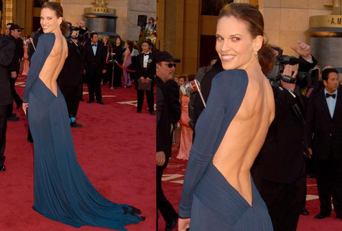 Daring to be different, Hilary Swank wore this backless blue Guy Laroche gown in 2005.