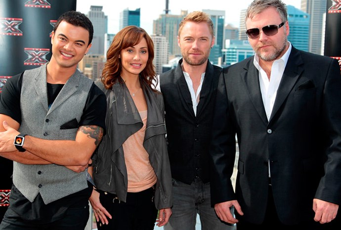 Natalie Imbruglia with her fellow X Factor judges
