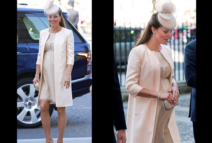 Kate glows in a cream dress and overcoat for the Queen's 60th Coronation Anniversary.