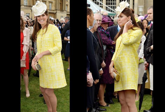 Catherine in bright yellow attire.