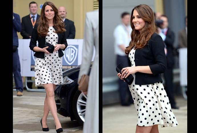 Catherine steps out in a short polka dotted dress.