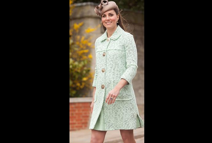Catherine in a lovely light green coat.