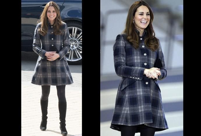 Smiles all round as Catherine steps out in her checkered coat.