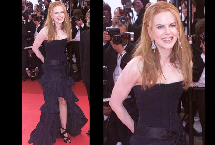 At the Moulin Rouge 2001 Premier Nicole steps out in a frilly Tom Ford dress.