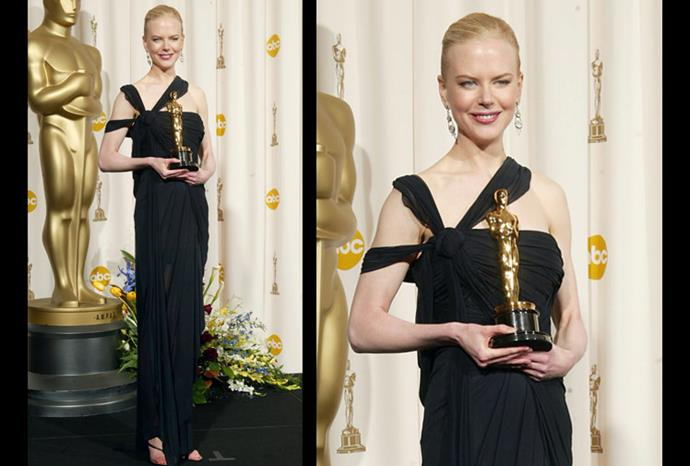 Nicole in a sheer black Jean paul Gaultier dress at the 75th Academy Awards.
