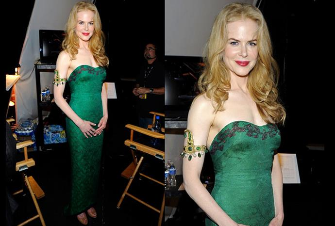 Posing in a gorgeous green L'Wren Scott Fall 2009 strapless dress.