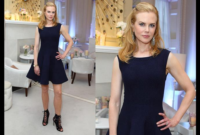 Nicole at Omega House opening wearing a sleeveless Azzedine Alaïa knit dress.