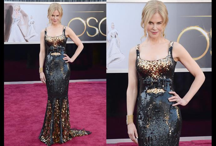 At the 2013 Oscars Red Carpet, Nicole captivated onlookers with a L'Wren Scott number.
