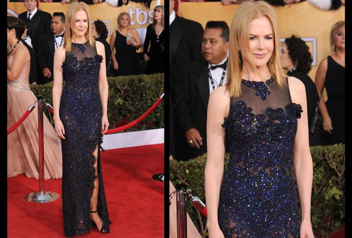 Nicole wears a navy sequined Vivienne Westwood gown to the 2013 SAG awards.
