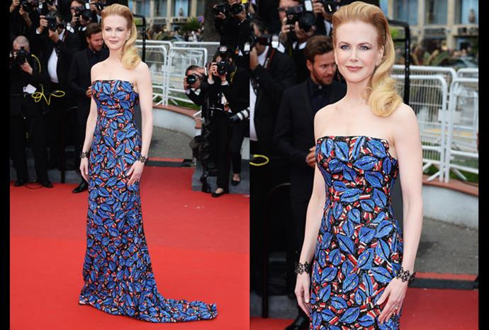 Nicole wearing a eye catching L'Wren Scott Dress to the Cannes Film Festival.